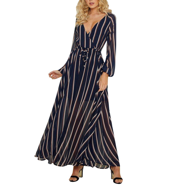 c2a7ce97dd US $10.41 28% OFF|Feitong Deep V neck Sexy Dress Women Striped Printed  Bandage Party Dresses 2019 Long Sleeve Loose Long Maxi Dress Vestidos  Mujer-in ...