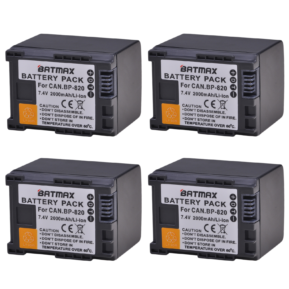 Batmax 4pack BP-820 BP820 Replacement Camera battery for Canon XA20 XA25 HFG30 HF HF M30 HF M31 HF M40 фото