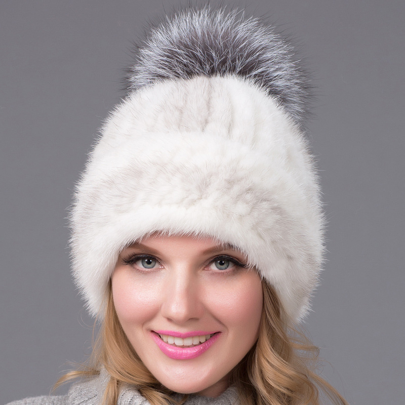 womens winter warm thicken mink fur hat female winter fashion all-match mink fur hat caps foreign trade explosion models in europe and america in winter knit hat fashion warm mink mink hat lady ear cap dhy 36