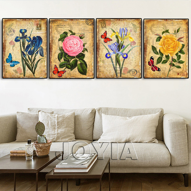 4 pieces botanical floral prints vintage wall art antique canvas painting home interior living room bedroom