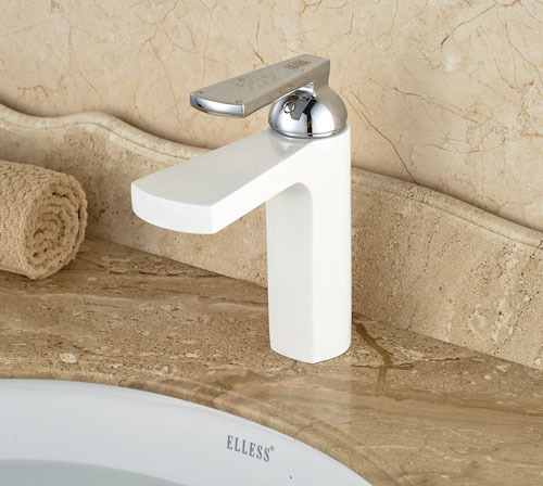 White Color  Bathroom Sink Faucet  Single Handle  Mixer Tap Chrome Finish