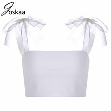 Joskaa Lace Up Bow Strappy Vest Crop Top Summer Sleeveless Slash Neck Beach Solid 2019 Casual Tops floral slash neck vest