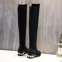 2018 new elastic boots women's with alpaca flat bottom with autumn and winter pearls with knee long boots.