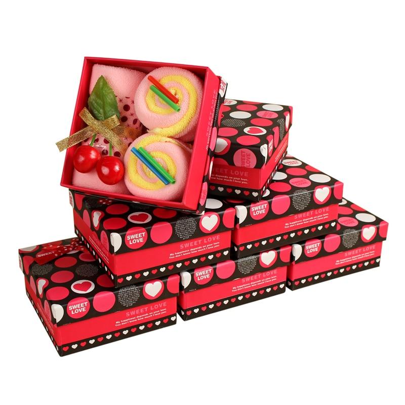 Serviette de Gâteau De Cadeau d'anniversaire, Cadeau De Noël Serviettes, 5 pcs dans la Boîte, Boîte De Cadeau De Mariage, serviette En Microfibre douce, Serviette 5 Couleurs