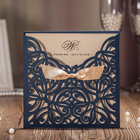 100pcs Royal Blue Laser Cut Wedding Invitation Cards Gold Bow Designed Elegant Envelopes Stickers Wedding Event