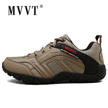 New Men Hiking Shoes Outdoor Sport Mountains Trekking Summer Breathable Mesh Patchwork PU