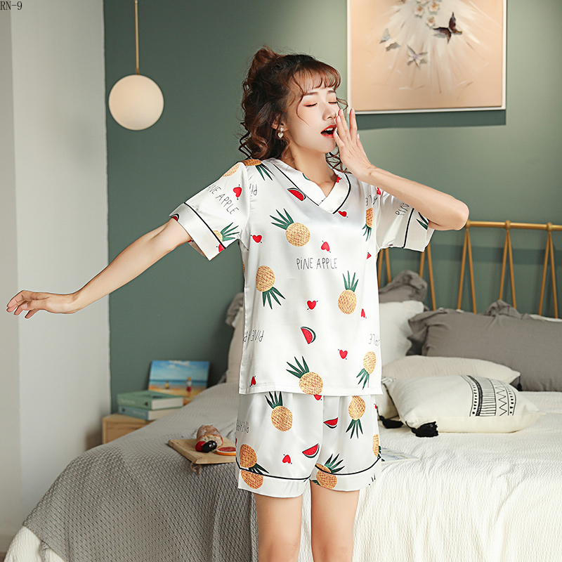 RM-9 Summer Women's   Pajamas     Sets   3D Flower Print Fashion Luxury Female Sleepwear Silk Two Pieces V- Neck Shirts+shorts Nightwear