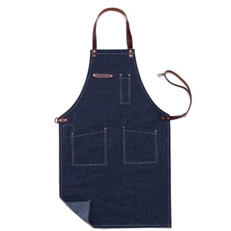 Denim tablier homme unisexe cuisine cuisine tablier coiffeur serveur travail BBQ coton Jeans tabliers Pinafores Logo personnalisé bavoirs