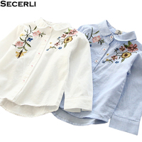 Little Girls Blouses Embroidery 2018 New Design Kids Girls Long Sleeve Shirt 2 4 6 8