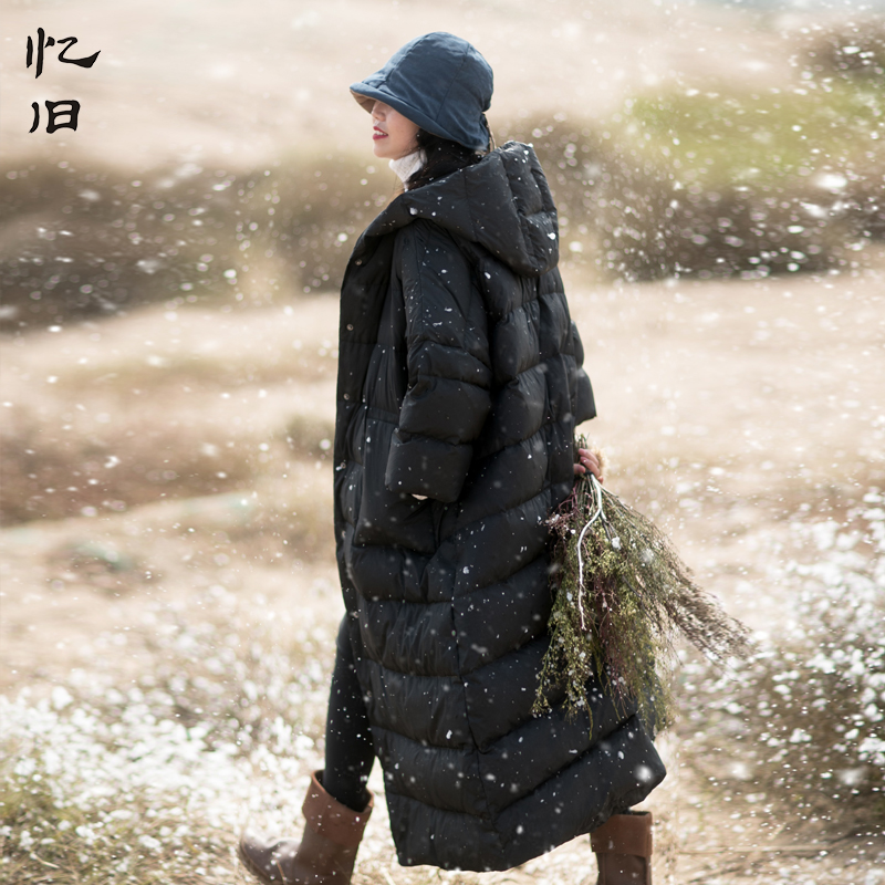 Здесь продается  Yijiu 2017 Winter Long Solid Thicken Woman Down Coats Single Breasted White Duck Down Hooded Black Loose Casual Jackets Casacas  Одежда и аксессуары