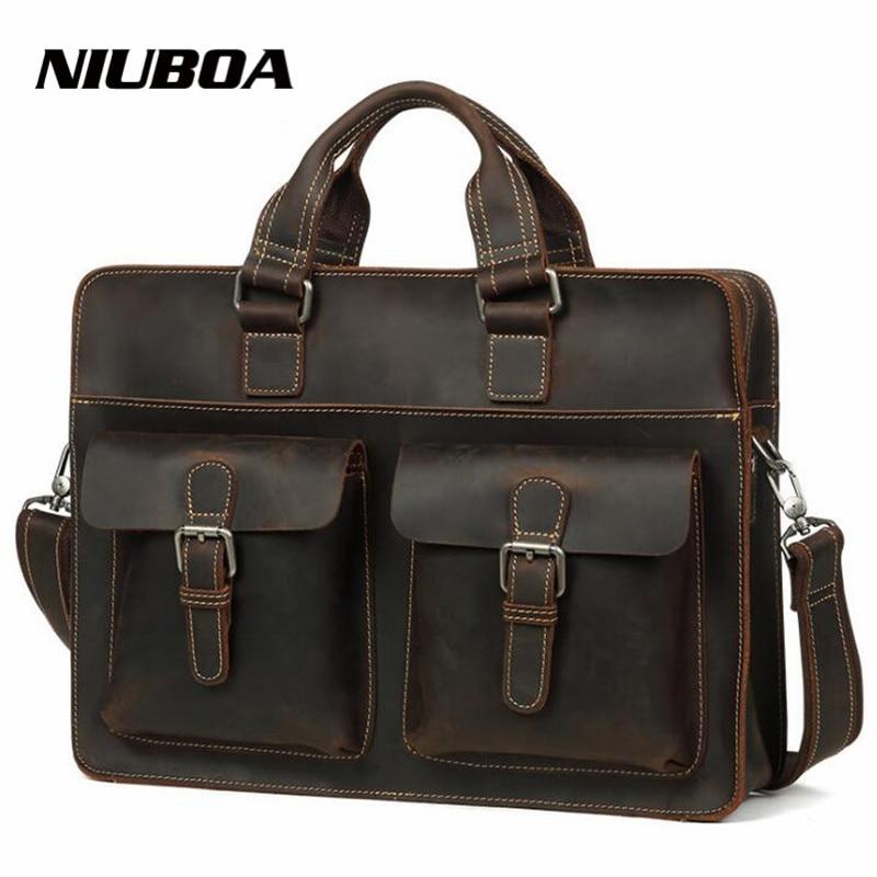 Men Briefcases 100% Genuine Leather Handbag Vintage Crazy Horse Leather Laptop Briefcase Messenger Shoulder Bags Men's Bag цена