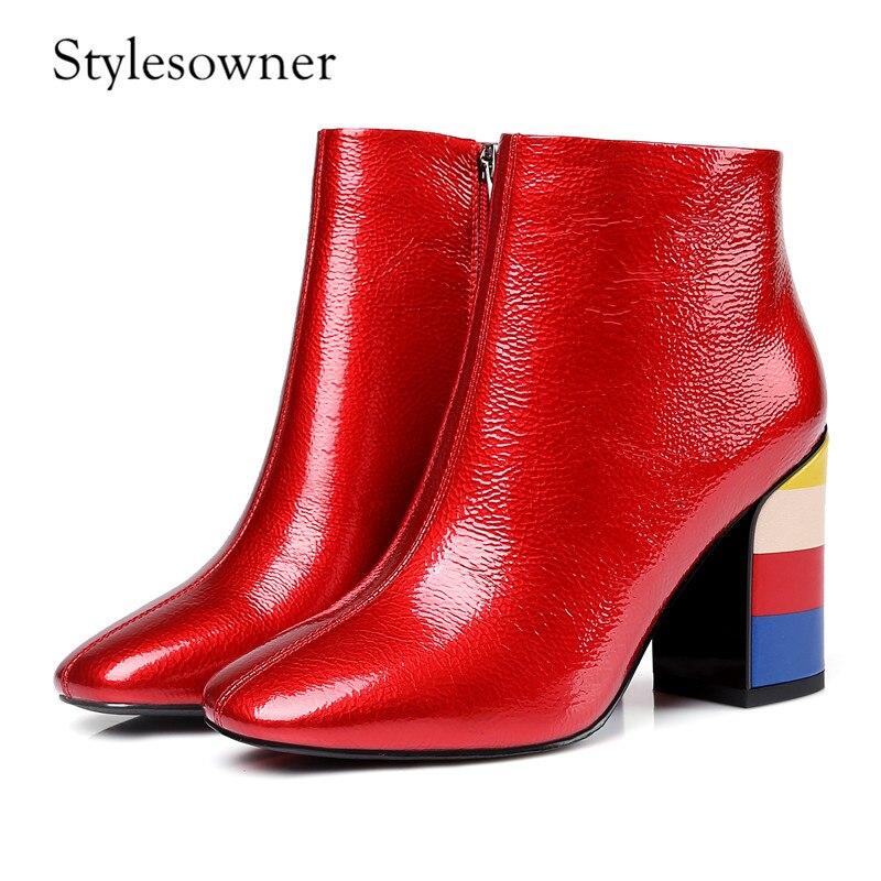 Cuir Profonde Euramerican Noir Brevet Bottes En Nouveau red Hauts Talons Stylesowner Femme Bout Style Impression Carré Peu Mode Black q8pxXW0E