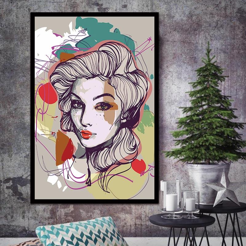 New Banksy Art Graffiti Street Wall Artwork Abstract Modern Women Portrait on Print Umělecké plátno pro obývací pokoj Žádné zarámované