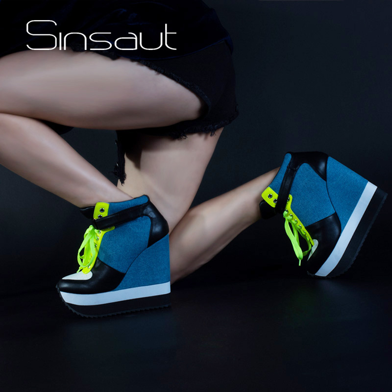 Sinsaut 2018 Newest Casual Pumps Women Shoes High Heels Wedge Lace Up and  Ankle Strap Ladies Sneakers Denim 43f9a0fd3339