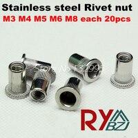 M3 M4 M5 M6 M8 100pcs Rivet Nut Stainless Steel A2 Rivet Nut Stainless Steel 304
