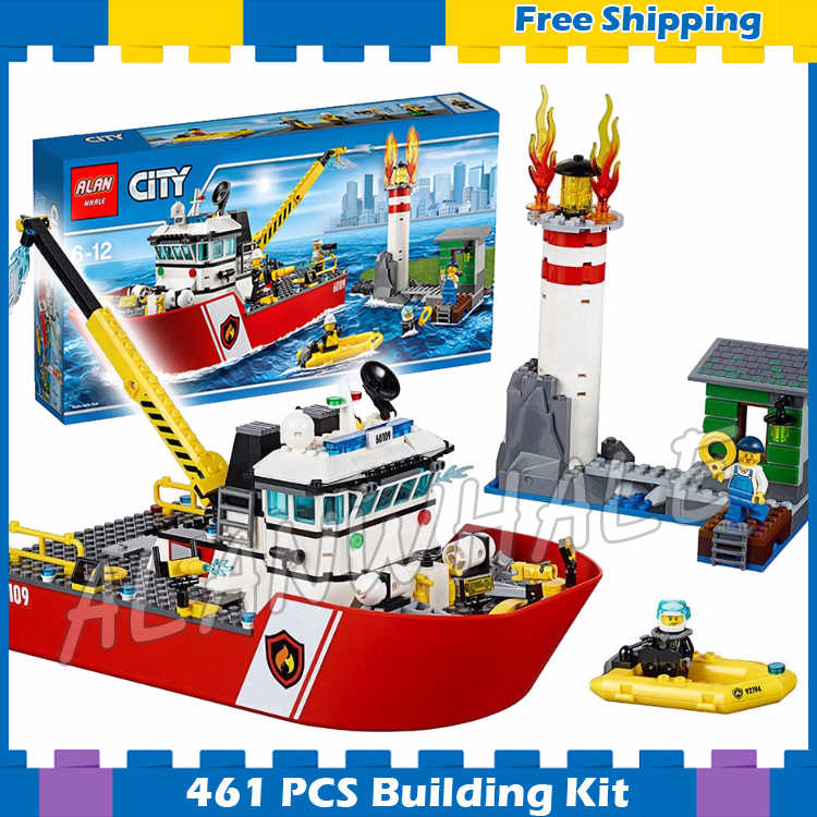 450pcs New City Fire Ship Boat Rescue Lighthouse Firefighter 10830 Model Building Blocks Children Sets Compatible with Lego