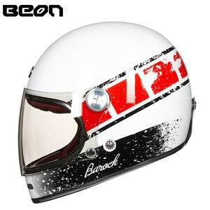 Image 4 - Мотоциклетный шлем BEON, полностью из стекловолокна, винтажный, ультралегкий, в стиле ретро, для езды на мотоцикле