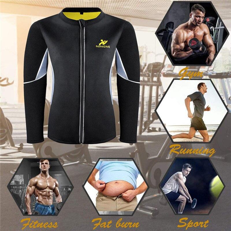 Image 5 - NINGMI Slimming Belt Men Waist Trainer Corset Vest Jacket with Zipper Hot Shirt Neoprene Sauna Weight Loss Body Shaper Tank Tops-in Shapers from Underwear & Sleepwears