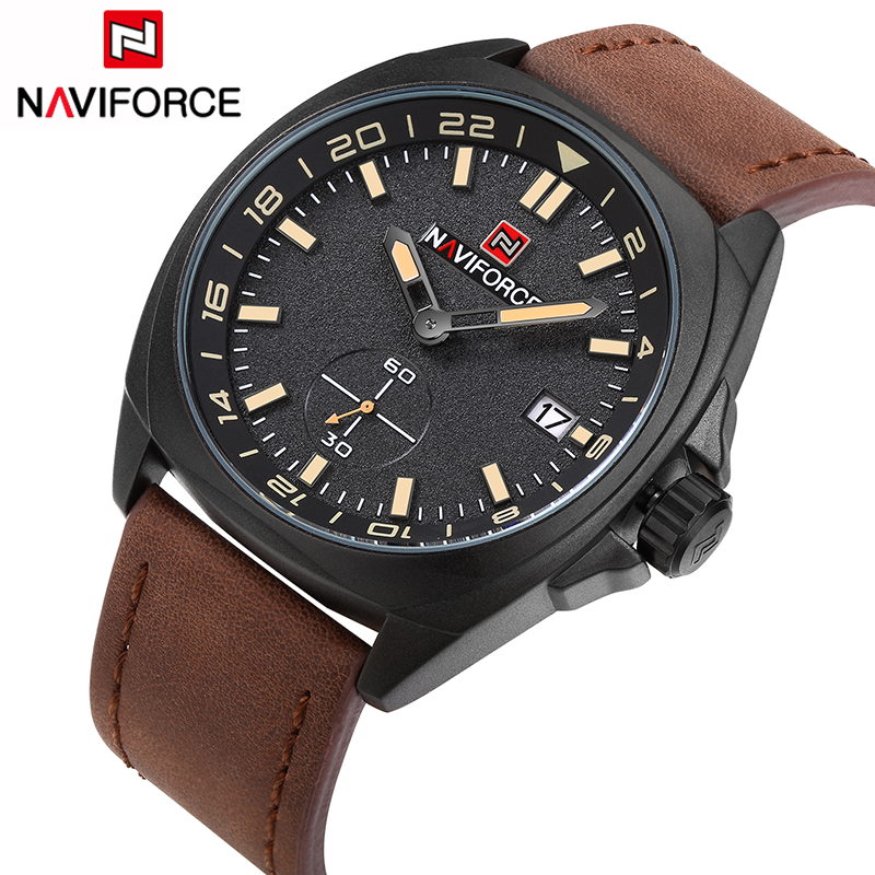 Mens Watches Top Luxury Brand NAVIFORCE Men Leather Watches Quartz Watch Analog Waterproof Sports Army Military WristWatch mens watches top luxury brand men leather strap watches quartz watch analog waterproof sports army military wristwatch relogios