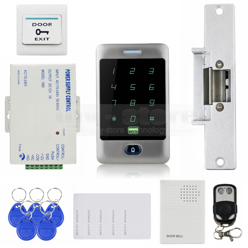 DIYSECUR 125KHz RFID Reader Password Keypad + Strike Lock + Door Bell + Remote Control Door Access Control Security System Kit rfid keypad and door bell active access control reader