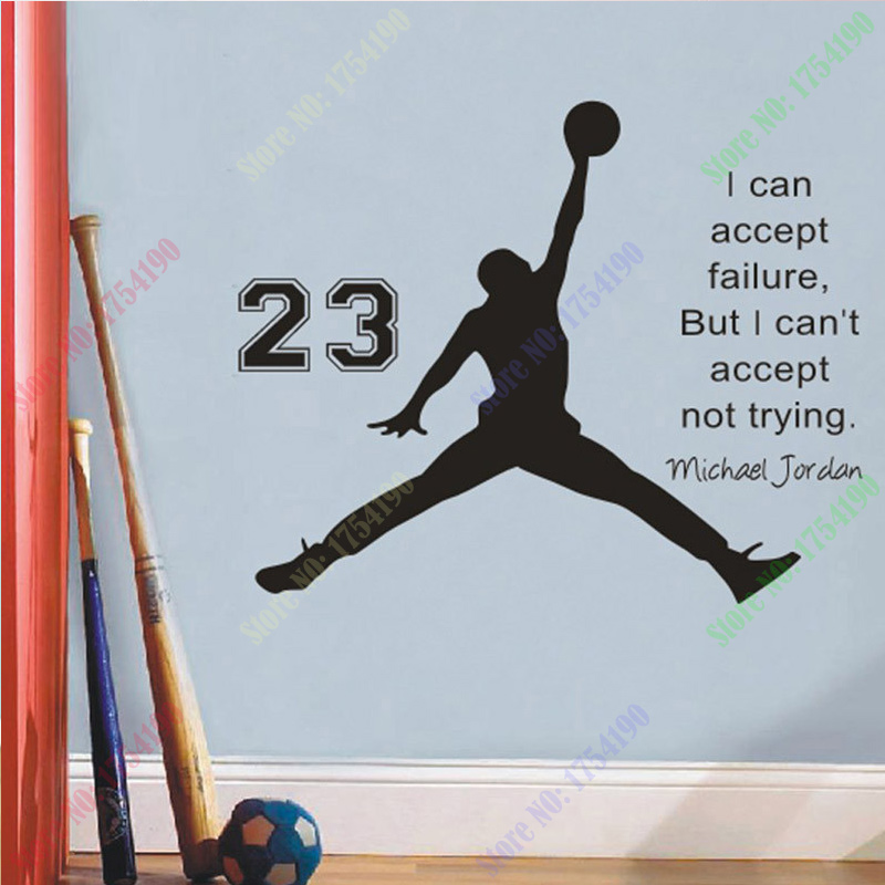 Michael jordan basketball inspirational wall sticker for Inspirational quotes for kids room