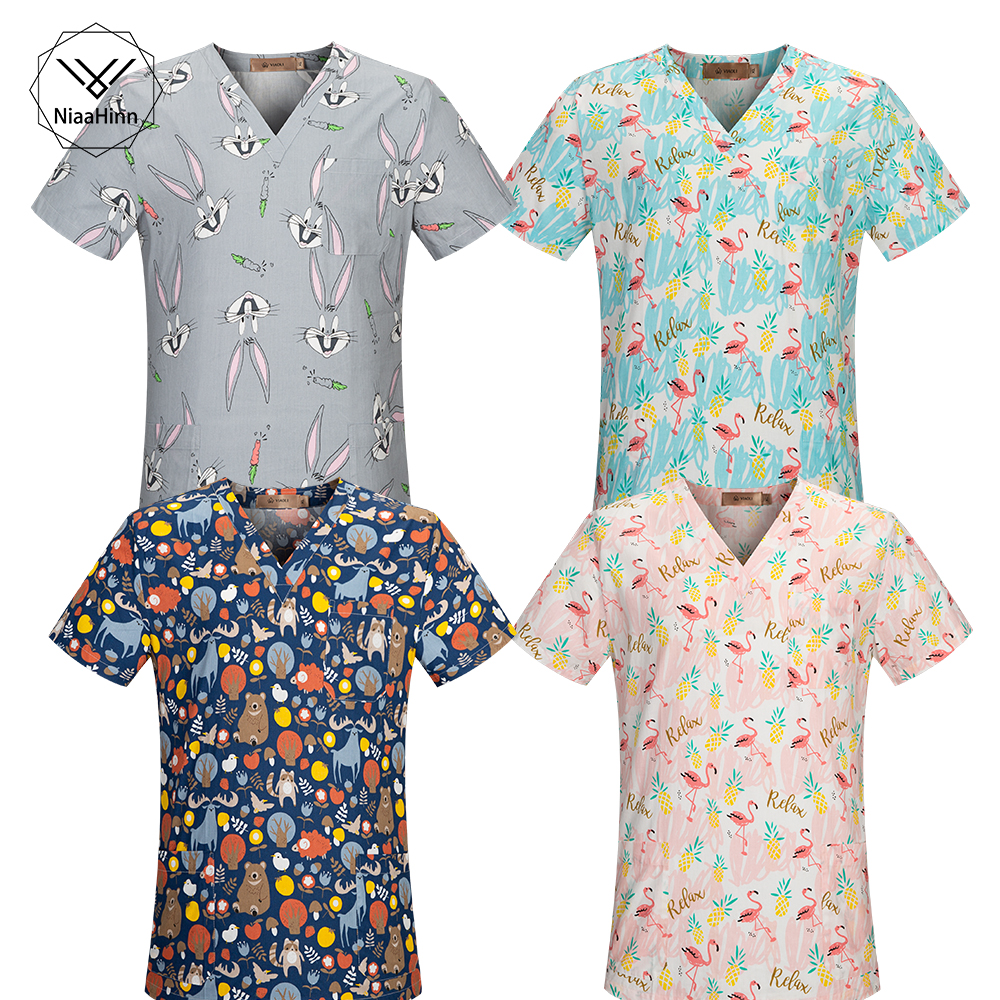 Plus Size Medical Clothes Nurse Uniform With Cartoon Animal Scrubs Tops Dental Clinic Medical Costumes T Shirt Clinical Uniforms