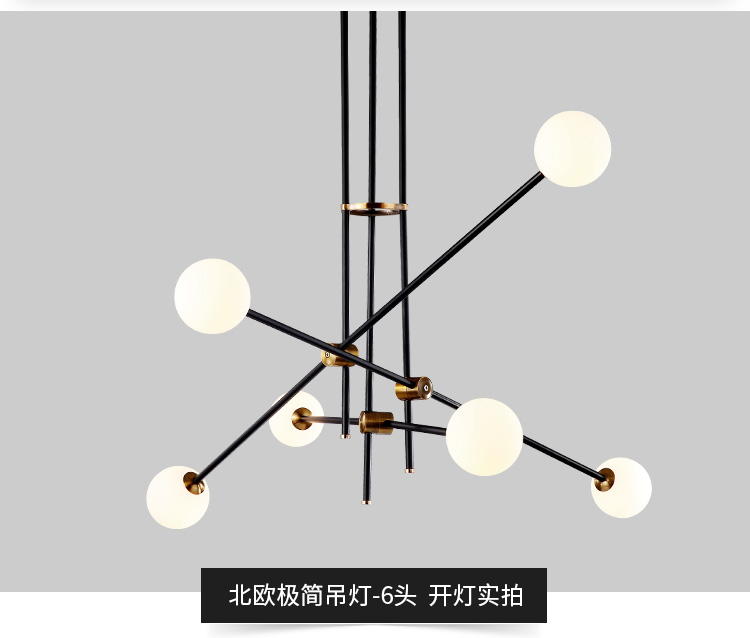 Nordic modern iron herringbone branch pendant light glass ball bubble living room restaurant bedroom bar hanging lighting E27 купить в Москве 2019