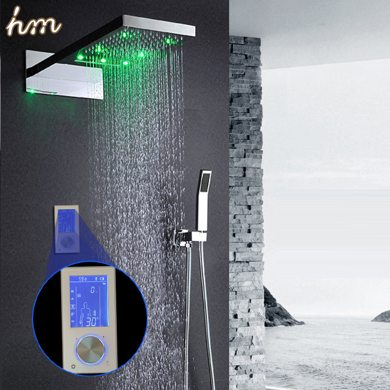 hm Digital Thermostatic Shower Controller Touch Control Panel Large SUS304 Rainfall massage waterfall Bathroom celling mounting