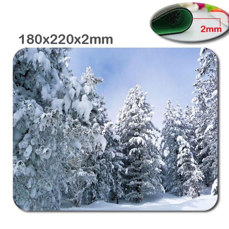 Evergreen Orman Altında Derin Kar Kaymaz Dikdörtgen Mouse Pad Özelleştirilmiş Desteklenen 220x180x2mmNon-slip ve Dayanıklı Mouse Pad