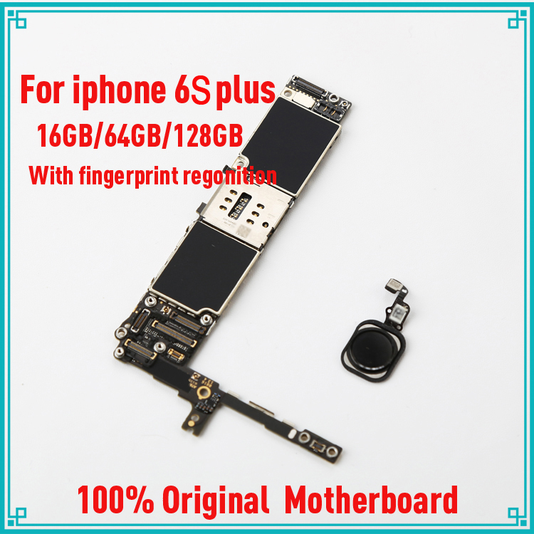 for iphone 6S plus 5.5inch 16GB/64GB/128G gold original unlock motherboard with fingerprint with touch ID IOS system logic board