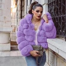 cf3f26ee4eeb9 2018 Winter Luxe Faux Vos Bontjas Slanke Roze Paars Faux Fur Jas Vrouwen  Nep Bont Jassen Met Hoed manteau fourrure