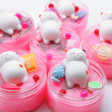 Cute Animal Squeeze Colorful Slime Squishy Crystal Fluffy Stress Relief Toy Soft Clay Anti-stress Light Plasticine DIY Toys