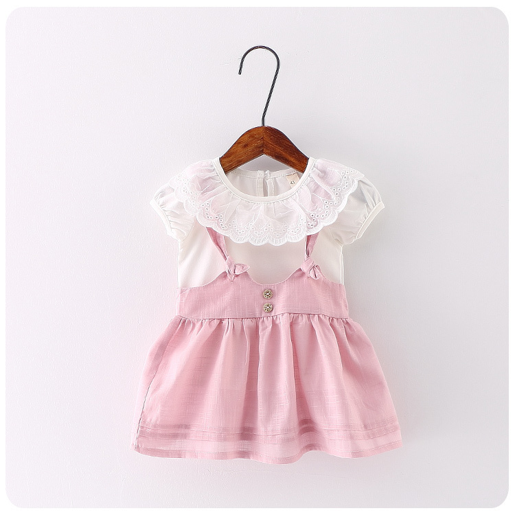 ФОТО 2016 Summer Girl Children's Garment 2 Pieces Set Girl Baby Lace Lotus Leaf Lead  Upper Solid Color Straps Skirt Suit