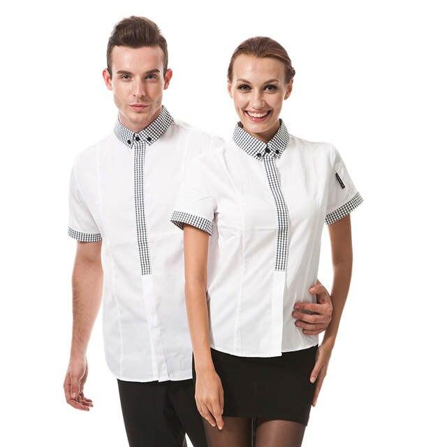 b6742dabfc121 placeholder Fashion Restaurant Hotel Uniform Women Female Waitress Blouse  Men Male Waiter Shirt