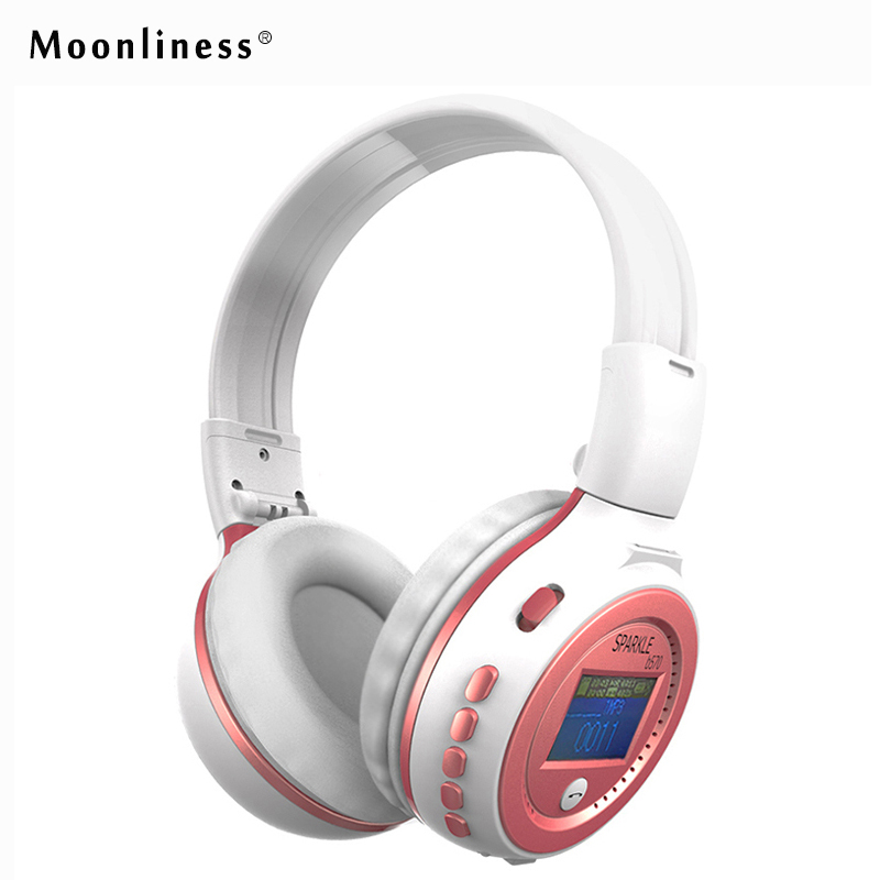 Moonliness  B570 Wireless Stereo LCD Bluetooth Headphone MP3 Headset Foldable FM/SD Card Headset with mic For iPhone PC economic set original nia 8809s 8 gb micro sd card a set wireless headphone sport for tv with fm