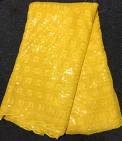 Latest Style High Quality Swiss Voile Laces Nigerian Sequins Lace Fabrics Yellow Guipure African Cotton Lace