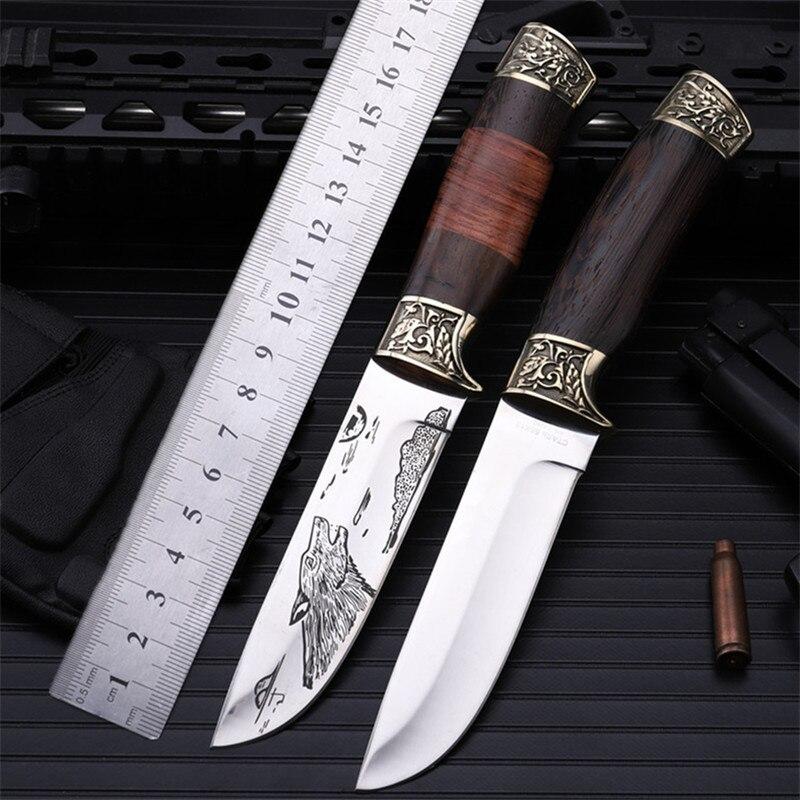 2018 nouvelle offre spéciale en plein air haute dureté couteau droit auto-défense désert survie Camping tactique armée chasse couteaux outils
