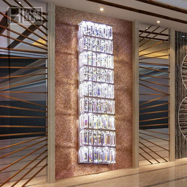 US $196.0 |Grande cristallo Lampada Da Parete per soggiorno Moderno led  luci & illuminazione Hall Italia Stile di Alta qualità di Cristallo Lungo  Muro ...