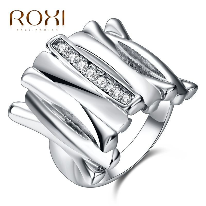 ROXI Trendy Female Lady Rings Irregular Square Crystal Jewelry Luxury White/Rose Gold Color Party Wedding Finger Rings for Women