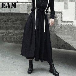 [EAM] alta calidad 2020 primavera otoño negro alta cintura Vintage borde empalmado moda nueva mujer Correa medio cuerpo falda LA923