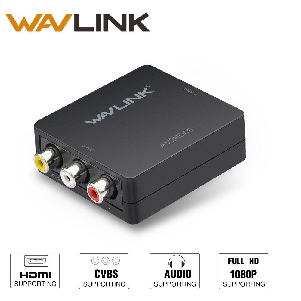 Wavlink Mini 3 RCA AV till HDMI Converter Adapter RCA Komposit CVSB SECAM NTSC3.58 / 4.43 med USB-kabel för TV Blu-ray STB DVD PS3