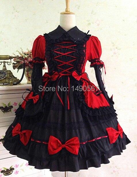 5b3fb40edd1 Gothic Lolita Kleid Prinzessin Kleider Party Cosplay Kostüm für Frauen Wein- rot Weiß