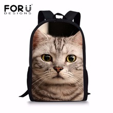 FORUDESIGNS Kawaii School Bags for Kids 3D Cat Printing Schoolbag Children Shoulder Backpack Students Heavy Duty Bookbag Satchel