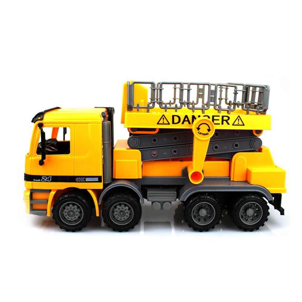 Grúa de elevación de inercia modelo de camión de juguete de ingeniería de construcción de vehículo de juguete de reparación de avería lifable Luz de calle para niños de juguete