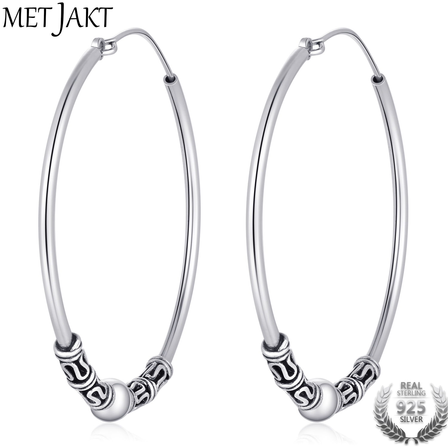 MetJakt Classic Round 925 Sterling Silver Silver Hoop Earrings for Women's Retro Ethnic Style Vintage Jewelry silver vintage flower pattern plain round hoop earrings