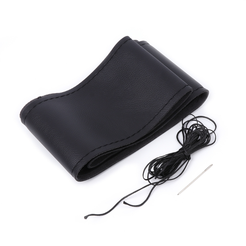 Universal Anti-slip Breathable Leather DIY Car Steering Wheel Cover Case+Needles Thread