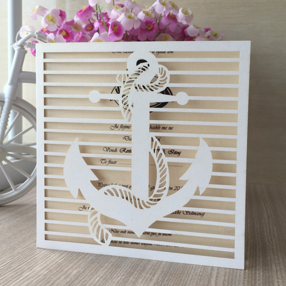 12pcs/lot laser cut wedding invitation cards sea theme invitations ...