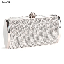 WholeTide 5*AUAU Handbag Pouch Wallet Rigid Metallic Deco Rhinestones For Woman Girl Silvery