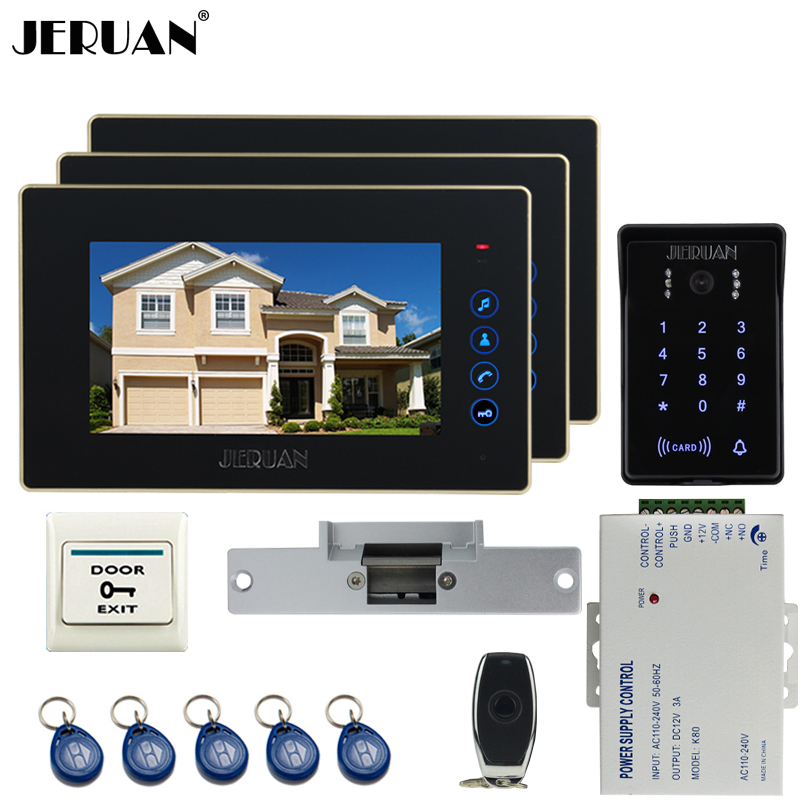 JERUAN New 7`` video door phone intercom system kit 3 Touch key monitor waterproof touch key password keypad camera Cathode lock 1pcs new mpr121 capacitive touch keypad shield module sensitive key keyboard