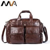 MVA Business Men Briefcase Handbags Leather Laptop Bag Men Messenger Bags Genuine Leather Men Bag Male